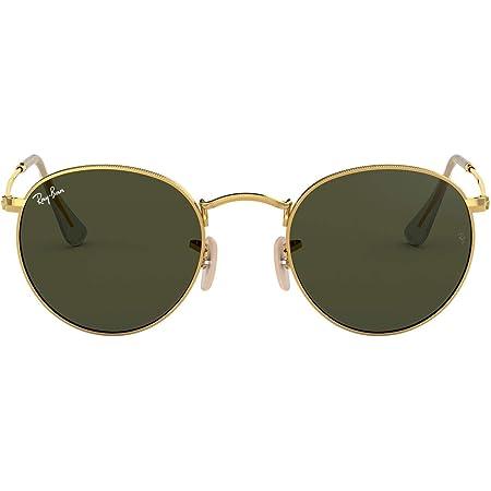Ray-ban Mod. 3447 - Unisex sunglasses, gold frame (edge), dark green lenses size 47