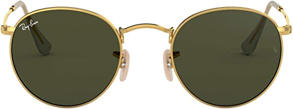 Ray-Ban ORB3447 001 Round Sunglasses,Gold Frame/Green Lens,50 mm