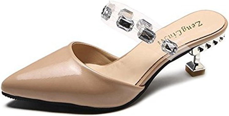 T-JULY Womens Ladies Fashion Drill Pointed Toe Slide Sandals Mid Heel Closed Toe Slip On Dressy Sandals