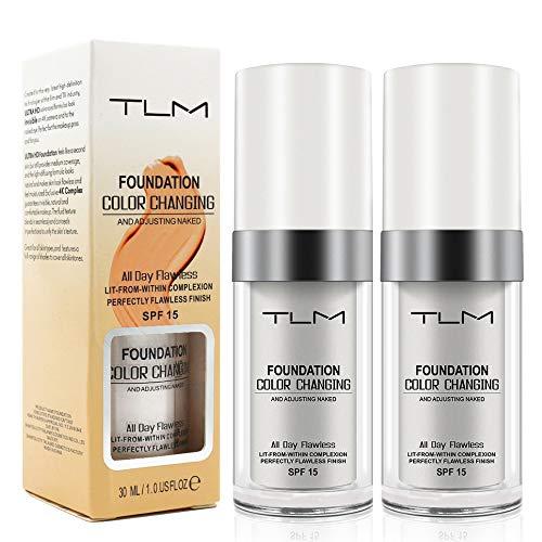 Crema de base de maquillaje TLM que cambia de color, base líquida oculta las arrugas y líneas, BB crema maquillaje base correctora cubierta fluido hidratante para todos los tonos de piel SPF15, paquete de 2