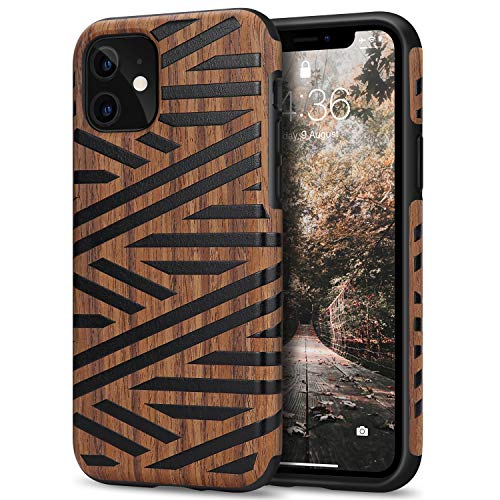 Tasikar Cover iPhone 11 Custodia Ibrida in Legno e TPU Compatibile con iPhone 11 (Pelle & Legno)