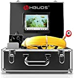 Pipe Inspection Camera,IHBUDS Pipeline Drain Industrial Endoscope,30M/100ft IP68 Waterproof Snake Video System with 7 Inch LCD Monitor 1000TVL Sony CCD DVR Recorder Sewer Camera(8GB SD Card Included)