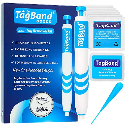 Auto TagBand Skin Tag Remover Device for Medium/Large Skin Tags. Easy Application in Minutes (includes 10x Removal Bands & Cleansing Wipes)
