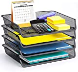 4 Pack - Simple Trending Stackable Office Desk Supplies Organizer, Desktop File Document Letter Tray Holder Organizer, Black