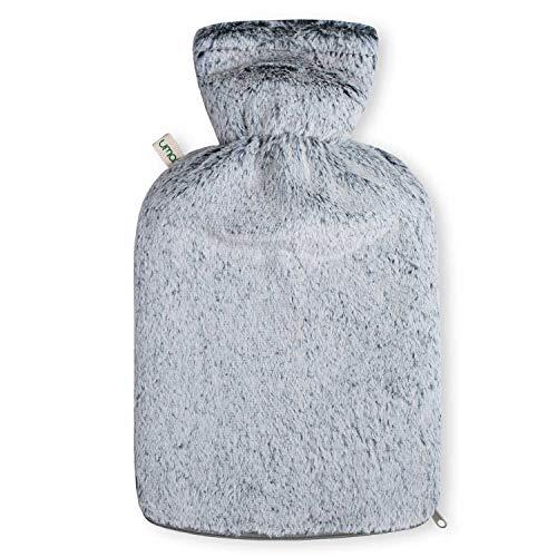 UMOI Öko Wärmflasche 2 Liter mit hochwertigem MINK Fleece Bezug BS1970:2012 zertifiziert Modell 2019 (Grau)