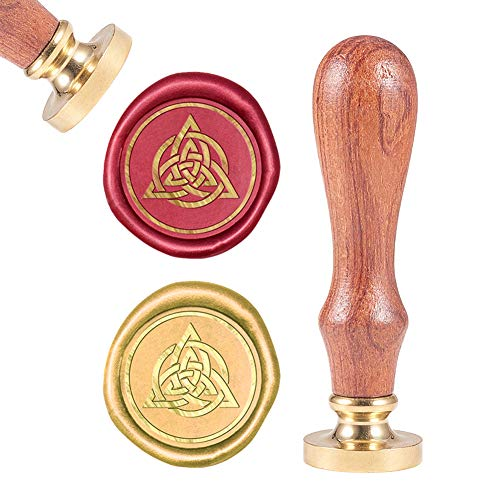 CRASPIRE Wax Seal Stamp Celtic Knot, Sealing Wax Stamps Celtic Heart Knot Fancy Retro Wood Stamp Removable Brass Head 25mm Wood Handle for Wedding Invitations Embellishment Gift Card
