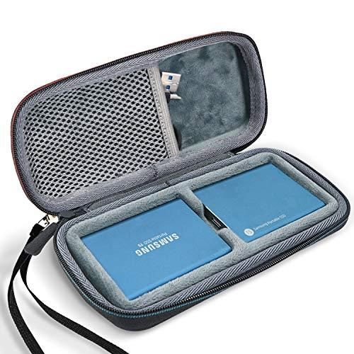 ProCase Estuche de Viaje para 2 Unidades de Samsung T5/T3, Funda Rígida de Transporte para 2 Disco Duro Externo SSD 250GB 500GB 1TB 2TB SSD USB 3.1 Unidad Estado Sólido -Negro