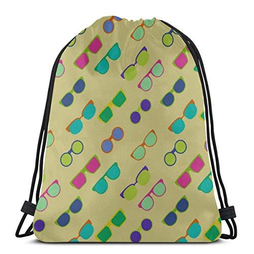 AEMAPE Unisex Retro Bunte quadratische Sonnenbrille String Rucksack Müllsack Kordelzug String Bag Rucksack für Fitness-Studio Outdoor-Reisen