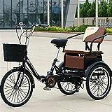 OHHG Triciclo Adultos 20 Pulgadas, Bicicletas 6 velocidades 3 Ruedas, Barras Ajustables en Forma H, Bicicleta Crucero Tres Ruedas Personas Mayores, Mujeres, Hombres (Color: Negro)