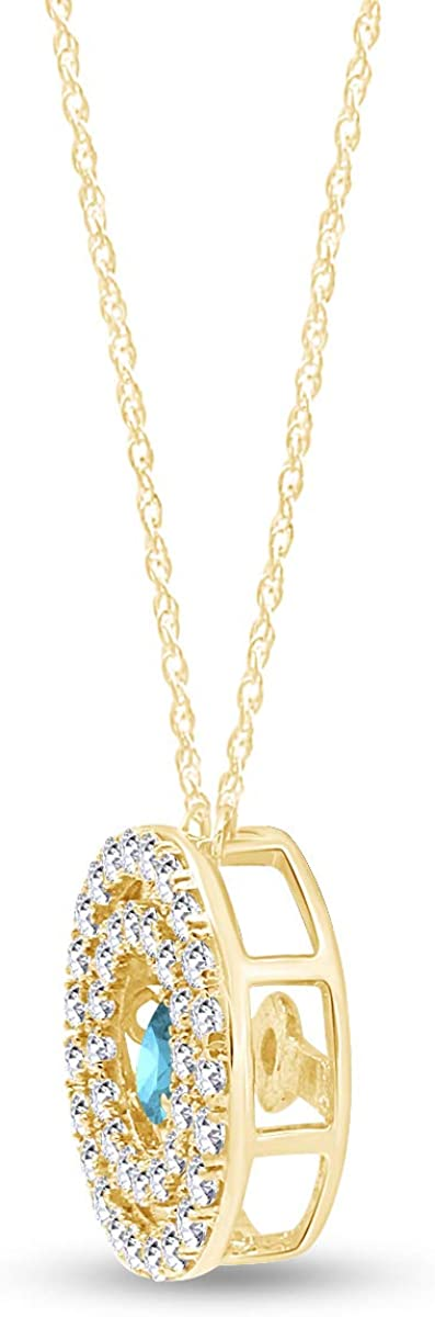 AFFY Circle Double Frame Pendant Necklace in 14k Yellow Gold Over Sterling Silver 1 cttw