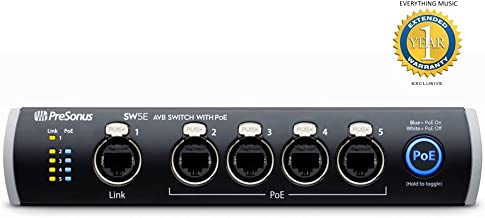 PreSonus SW5E 5-port AVB switch with PoE and 1 Year EverythingMusic Extended Warranty Free