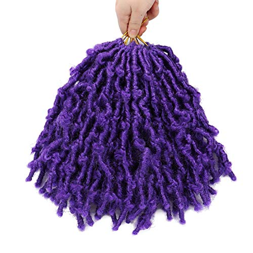 6 Packs Butterfly Locs Crochet Hair 10 Inch Short Bob Distressed Locs Crochet Braids Pre Looped Faux Locs Crochet Hair for Women Pre twisted Synthetic Braiding Hair Extensions (#Purple)
