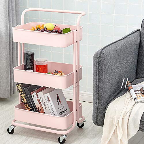 Dripex Rollwagen Küchen Organizer 3-stöckiger Servierwagen Küchenwagen Storage Trolley Cart Küchenregal Allzweckwagen Allzweckregal (Rosa)