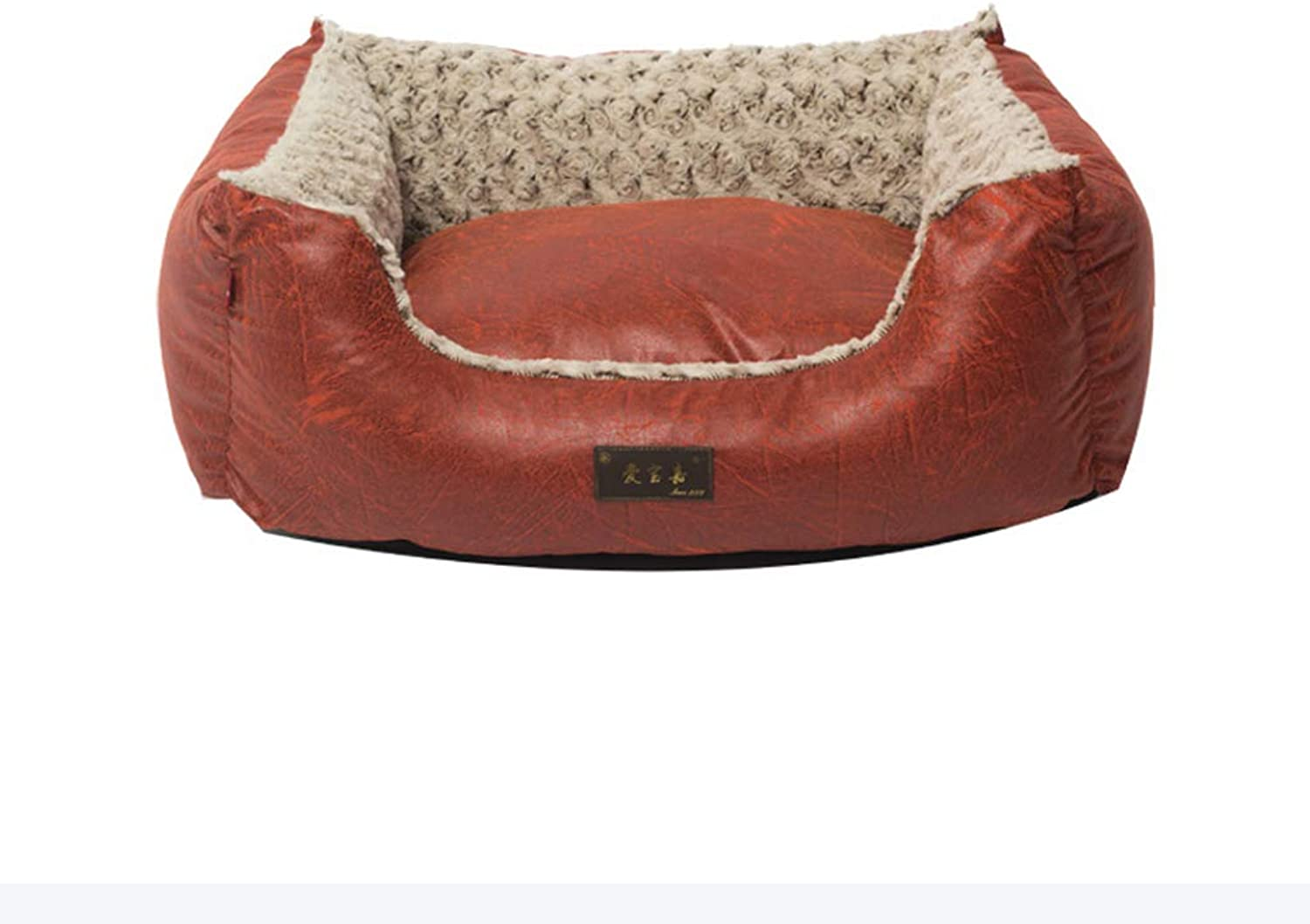 HQSB Pet bed Soft Luxurious And Comfortable Square Cat Dog Bed With Anti Slip Base (color   RED, Size   Xl)