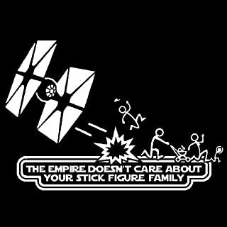 Empire Doesn't Care About Stick Figure Family Vinyl Decal Car Window Sticker, Die Cut Vinyl Decal for Windows, Cars, Trucks, Tool Boxes, laptops, MacBook - virtually Any Hard, Smooth Surface