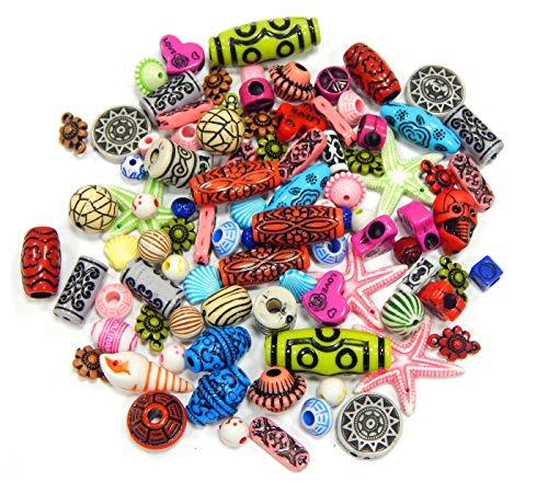 100 g di perline in plastica per bambini, stile antico e colorato, set di perline in acrilico, set di perline da infilare per bracciali, collane, set fai da te