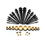 DELOVE Ear Stretching Kit, 14G-00G by Acrylic +Stainless Steel Tapers and Plugs + Silicone Tunnels - Ear Gauges Expander Set Body Piercing Jewelry,36 Pieces (A)