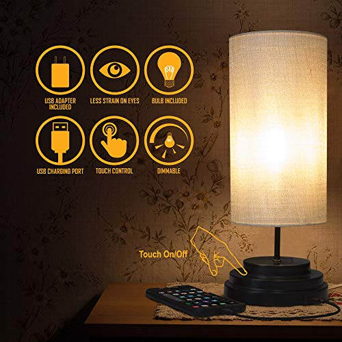 Amazon Brand – Aultra LED Touch Table LAMP - Table Lamp Shade with Dimmable Touch Control Features