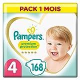 Pampers Couches Premium Protection Taille 4 (9-14kg) notre N°1 pour la protection des peaux sensibles, 168 Couches (Pack 1 Mois)