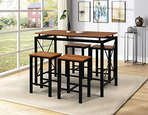 Dining Table with Four Chairs Set Durable Combination of Metal and Wood Kitchen Set for Family Gathering and Evening Kitchen Breakfast Nook Living Room, Counter Height Dining Set and 4 Chairs (Walnut)