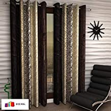 Home Ready 2 Piece Eyelet Polyester Long Door Curtain Set-Size-9 feet Long,Brown