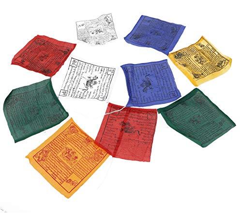 Guru-Shop 1 Pieza de Banderas de Oración (Tibet) con 10 Banderines de Diferentes Longitudes, Hechas de Algodón con Letra Pequeña, Longitud: 2 m de Largo (banderín 16x16 cm)