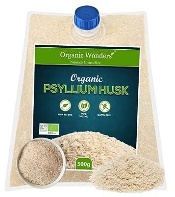 Organic Blond Psyllium Husk (500g) | Natural | Vegan | Vegetarian | Gluten Free | High in Fibre by Organic Wonders®