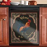 Kitchen Decor Rooster Dishwasher Sticker Cover,Welcome to The Simple Life Cock Refrigerator Sticker,Washing Machine Sheet,Chicken Panel Vinyl Decals for Home Decorative (Ordinary Sticker)