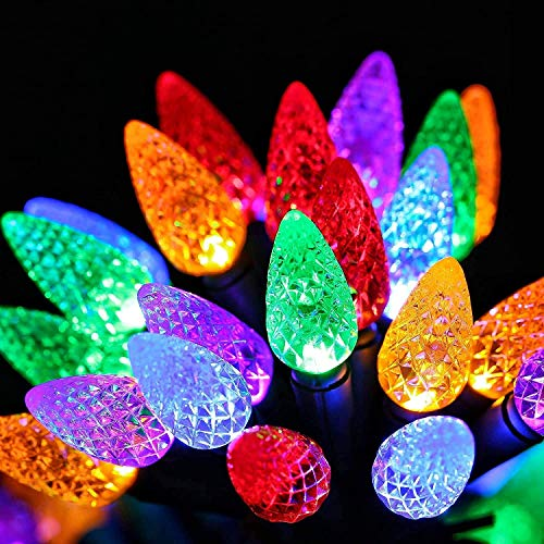 Christmas String Lights, Swonuk 50 LED 16.4ft C6 LED Battery Operated Strawberry Fairy String Lights for Indoor Outdoor Xmas Tree Wedding Party Home Patio Garland, Auto On/Off, Multicolor