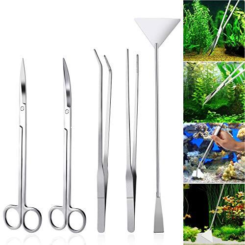 ZHONGJIUYUAN 5 en 1 de acero inoxidable acuario Aquascaping kit acuario tanque plantas acuáticas herramientas pinzas tijera espátula