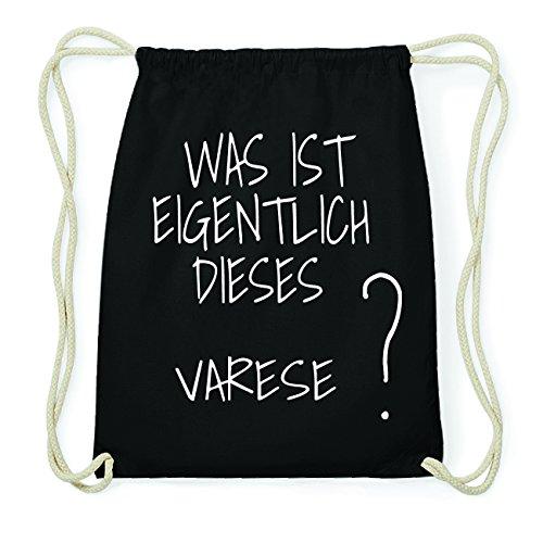 JOllify Varese Hipster Turnbeutel Tasche Rucksack aus Baumwolle - Farbe: schwarz – Design: was ist eigentlich - Farbe: schwarz