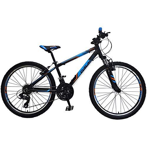 Galano Jugendfahrrad 24 Zoll Mountainbike ab 130 cm 21 Gänge G200 MTB Fahrrad (schwarz/blau)