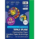 "PACON Tru-Ray Heavyweight Construction Paper, Festive Green, 9"" x 12"", 50 Sheets (103006)"