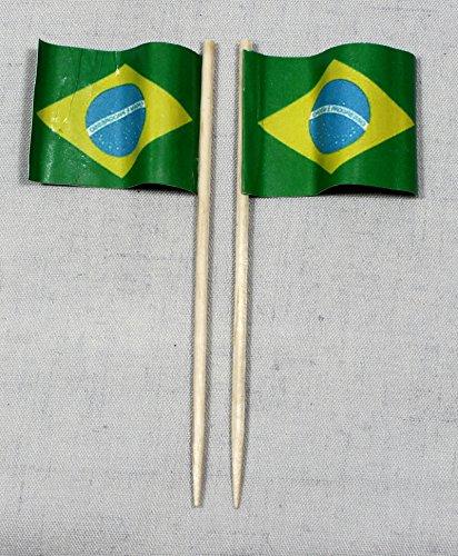 Buddel-Bini Party-Picker Flagge Brasilien Papierfähnchen in Profiqualität 50 Stück 8 cm Offsetdruck Riesenauswahl aus eigener Herstellung