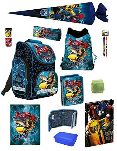 Familando Transformers PL Schulranzen-Set 12-TLG. mit Federmappe, Turnbeutel, Brotzeit-Dose, Schultüte 70cm und Regenschutz Blau