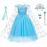 LiUiMiY Disfraz de Princesa Niñas Vestido de Carnaval Fiesta Halloween Cosplay Navidad Costume con Accesorio, Azul, 134-140 (Etiqueta 140)