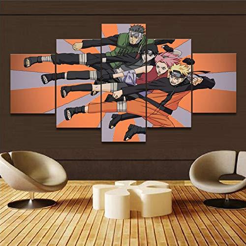 QJXX 5 Panel Wall Art Schilderijen NARUTO De Foto Print Op Doek Naruto Sasuke Canvases Prints Voor Home Decor Decoratie Gift Stuk (Geen Frame)