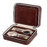 JIAJBG Caja de almacenamiento de reloj para hombre, caja de reloj con cremallera, 4 ranuras para almacenamiento y visualización de reloj de lujo, marrón, 18 x 14 x 6 cm