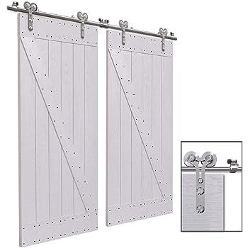 CCJH 12.6FT-383cm Acero Inoxidable Herraje para Puerta Corredera Kit de Accesorios para Puertas Correderas Rueda Riel Juego para Dos Puertas de Madera: Amazon.es: Bricolaje y herramientas