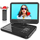 WONNIE 12' Reproductor de DVD Portátil con Pantalla Giratoria para Coche Soporte SD/USB/CD/DVD/MP3/JPEG 4 Horas Batería Recargable con Mando a Distancia