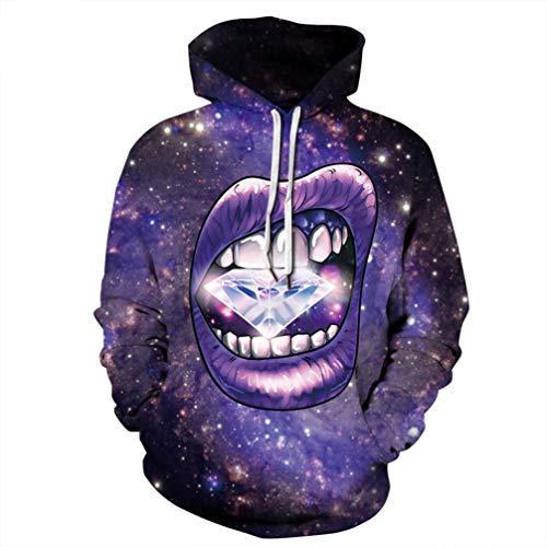Hipters 3D Atractivo de los Hoodies Boca impresión del Diamante Galaxia del Espacio Sudaderas con Capucha púrpura Tops Streetwear