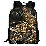 Lawenp Golden Dragon - Bolsa de Hombro Unisex para Adultos Impermeable para la Escuela, Viajes, al Aire Libre,