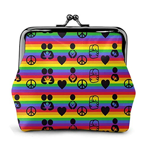 Rainbow Peace Sign Flag Family Baby Vintage Pouch Girl -Lock Change Purse Wallets Buckle Leather Coin Purses Key Woman Printed