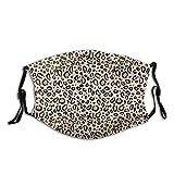 Leopard Print Tan Natural Animal Cheetah Safari Print Adjustable Face Mask Decorations for Adult Outdoor Multifunctional Comfortable