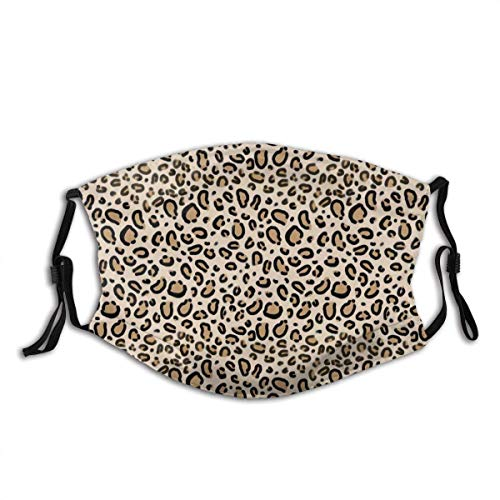 Leopard Print Tan Natural Animal Cheetah Safari Print Adjustable Face Mask Decorations for Adult Outdoor Multifunctional Comfortable Mask