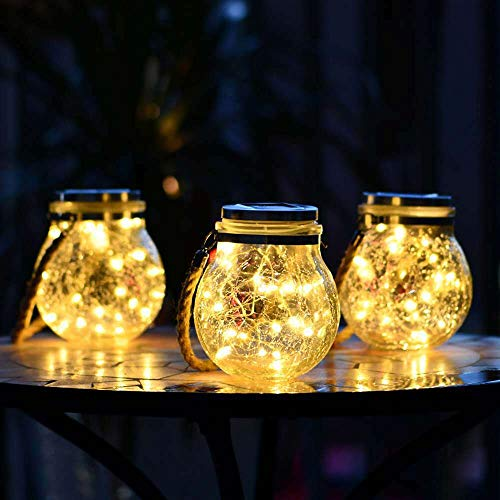 COMY LED Mason Jar Lid Lights 3 Pack Hanging Solar Lights IP65 Waterproof Outdoor Solar Powered Lanterns for Handle Great Outdoor Lawn Décor for Patio Garden