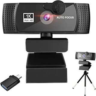 LucaSng 1080P Webcam with Microphone HD Web Computer Camera with Privacy Cover and Tripod Wide 360° Rotating Base for Stre...