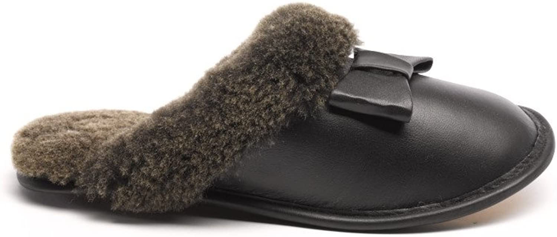 Frr Ladies Carrie Napa Bow Sheepskin Slipper in Black