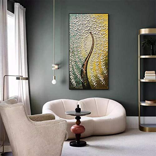 Handbeschilderde olieverfschilderij op doek, abstracte plantenboom, mooie witte bloemen, lange dikte, grote boom, hedendaagse kunstwerken handgeschilderd voor huis woonkamer slaapkamer 50×100cm