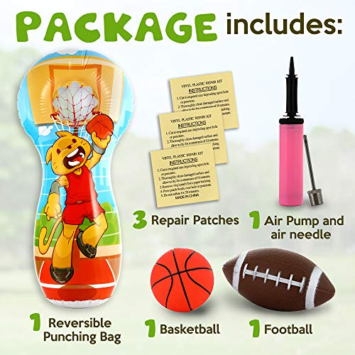 Football Toys Inflatable Football Target, Double-Sided Inflatable Basketball Court, Football Gift for Kids, Inflatable Toys Toss Game, Punching Bag for Children, Football Throwing Target Party Games